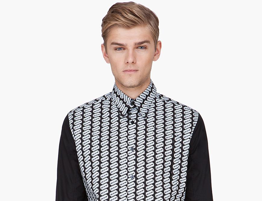 YSL Black Razor Blade Print Shirt