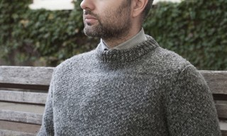S.E.H Kelly Green Tuck-Stitch Crew-Neck Wool Jumper