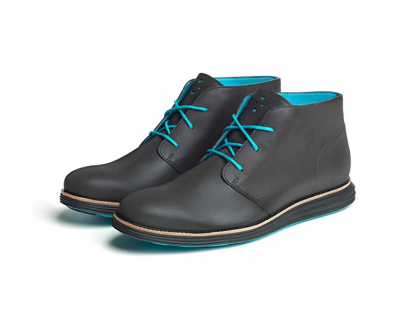 Cole Haan Waterproof & Reflective Chukkas Boots with Blue Hits