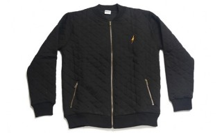 Lightning Bolt Quilted Bomber Fleece Jacket