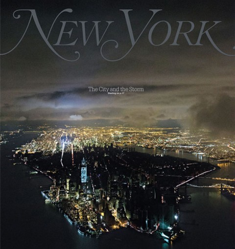 Stunning Hurricane Sandy cover showing the blackout in lower Manhattan