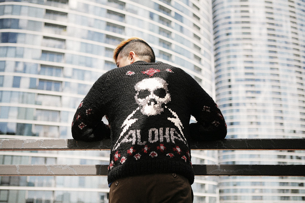 Raif Adelberg Skull and Hula Girl Sweaters for Aloha Rag