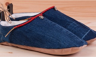 Crossed Arrows Beaded Denim Slippers