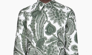 Givenchy Green & White Oversized Paisley Shirt