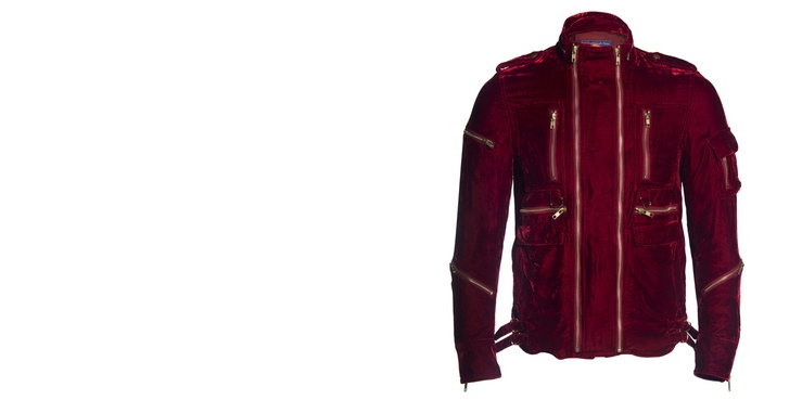 Blackmeans Red Velvet Motorcycle Jacket