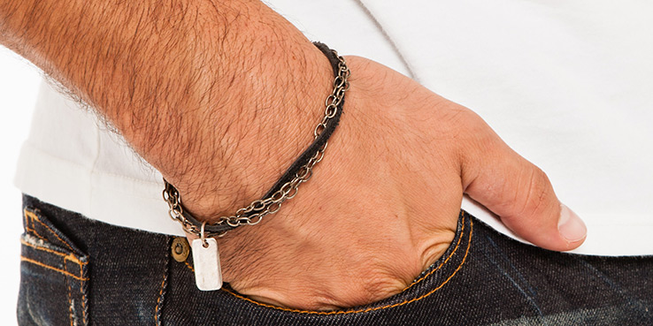 Goti Black Leather Bracelet with Double Silver Chain and Pendant