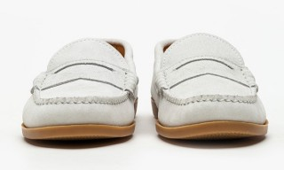 Quoddy Suede White Penny Loafer Shoes for Need Supply Co.