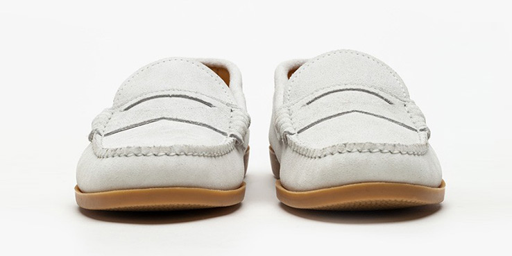 Quoddy Suede White Penny Loafer Shoes for Need Supply Co. 1