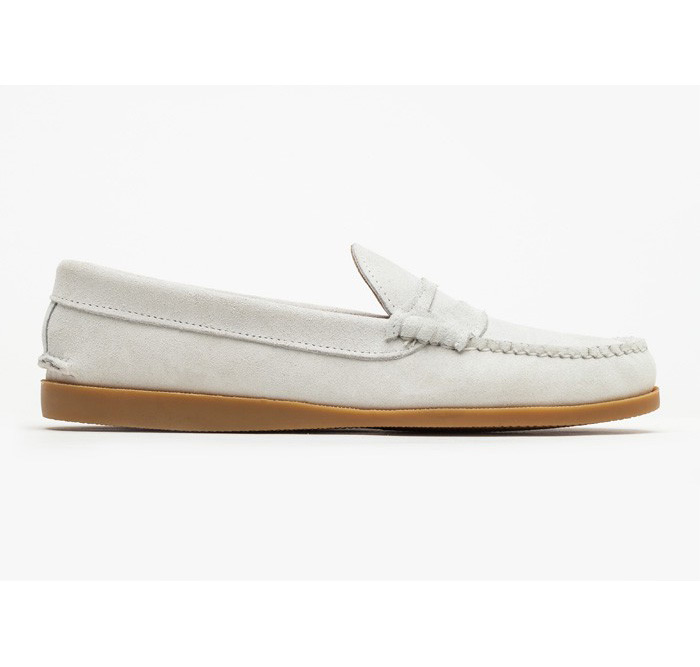 Quoddy Suede White Penny Loafer Shoes for Need Supply Co. 2