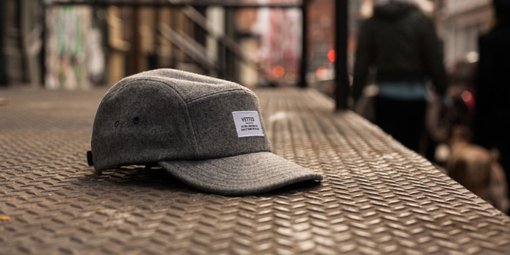 Vetted Grey Wool 5-Panel Cap 1