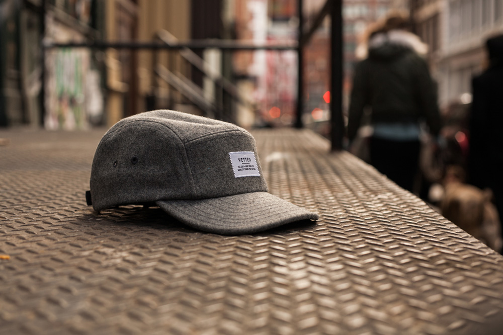 Vetted Grey Wool 5-Panel Cap 2
