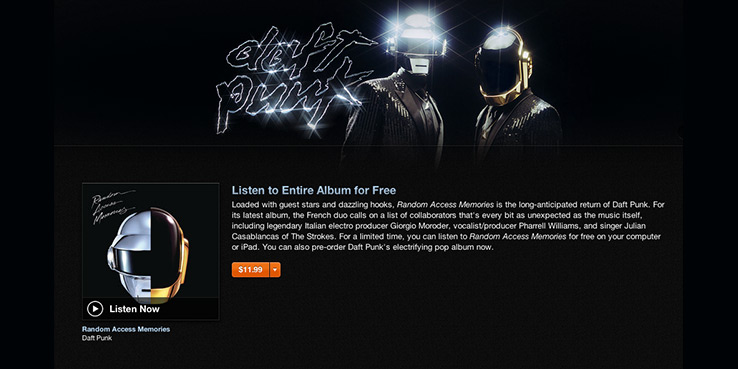 Stream the Entire New Daft Punk Album on iTunes Now 1