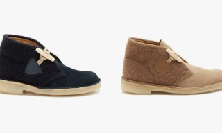 Clarks Desert Boots Gloverall Editions in Navy and Camel