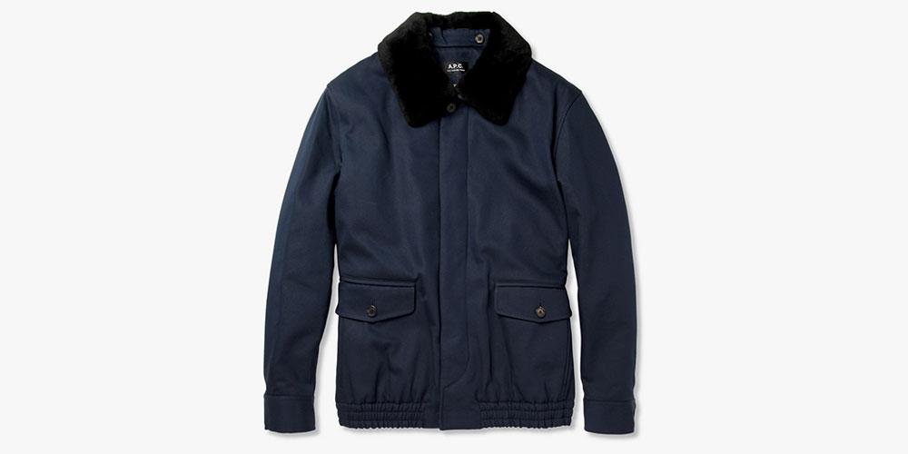 A.P.C. Shearling-Collar Bomber Jacket | Highsnobiety