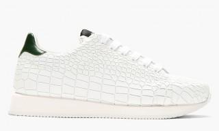 A Slick White Croc-Embossed Sneaker by Kris Van Assche