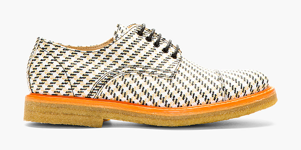 Straw-woven Textile Derby Shoes by Carven