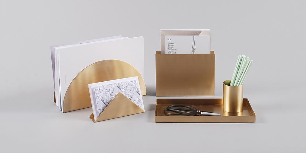 Ferm Living Brass Geometric Desk Accessory Collection