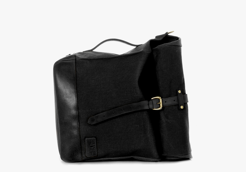 JPLC RollTote in black canvas with black leather trim
