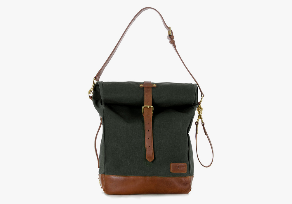 JPLC RollTote in olive canvas with tan leather trim