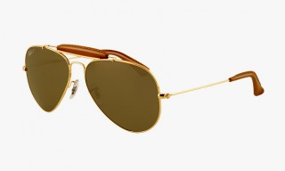 Ray-Ban Outdoorsman Aviator Sunglasses with Hand-Stitched Deer Leather
