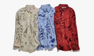 """Sasquatchfabrix for Nepenthes """"Chilling"""" Hand-Printed Cowboy Shirts"""