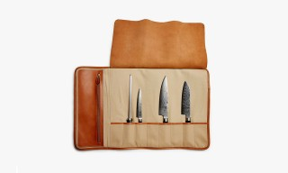A Smart Chestnut Leather Chef's Knife Roll by Ghurka