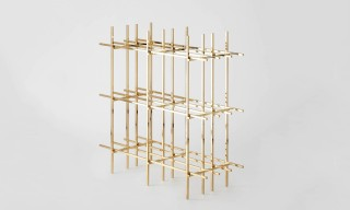 "The Solid Brass ""Hash"" Bookshelf by Minimalux"