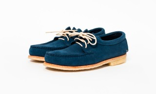 See the Quoddy Shark Fin Blue Suede Footwear Series