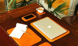 "Organize Your Desk with Parabellum's Bison Leather ""Tech Blotter"" Set"
